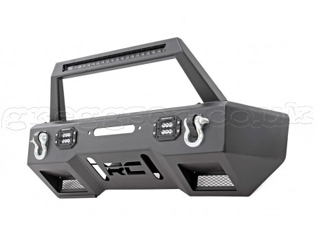 Jeep Wrangler JK Front Steel Bumper LED with Winch Plate Rough Country