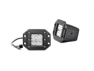 Square Flush Mount Cree LED Lights Rough Country (Pair)