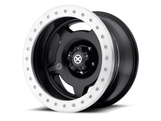 "17"" x 9 ET-38 5x127 Alloy Wheel Black With Silver Ring Model 756 Beadlock ATX"