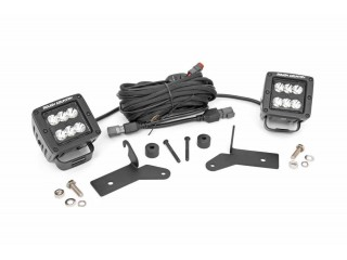 "Jeep Wrangler JL 2"" Square CREE LED Lights Pair Black Series Rough Country"