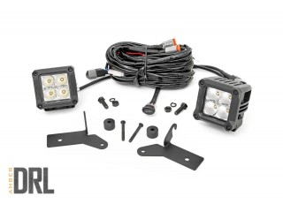 "Jeep Wrangler JL 2"" Square CREE LED Lights Pair Chrome Series with Cool Amber DRL Rough Country"